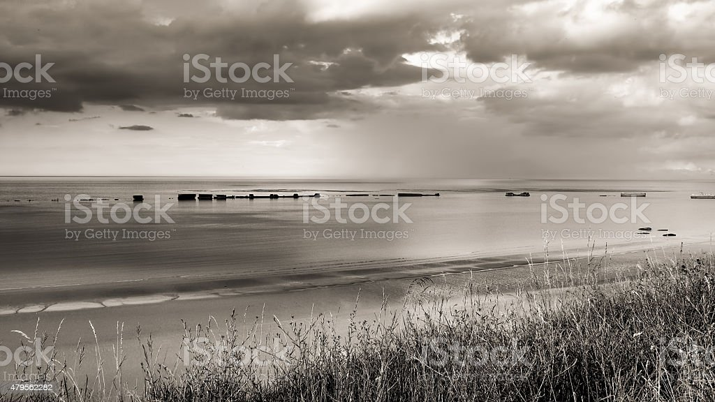 Mulberry harbour at Arromanches Normandy stock photo