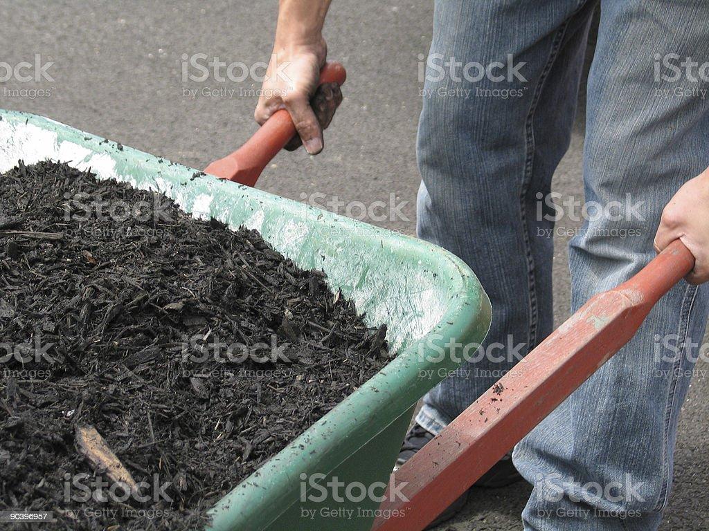 Mulch in a Wheelbarrow royalty-free stock photo