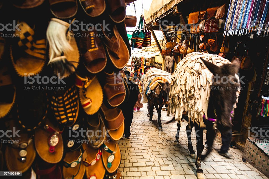 Mule transportation in Fez Medina streets stock photo