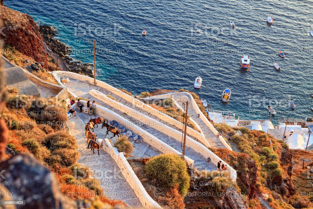 Mules on staircase to Oia, Santorini, Greece stock photo