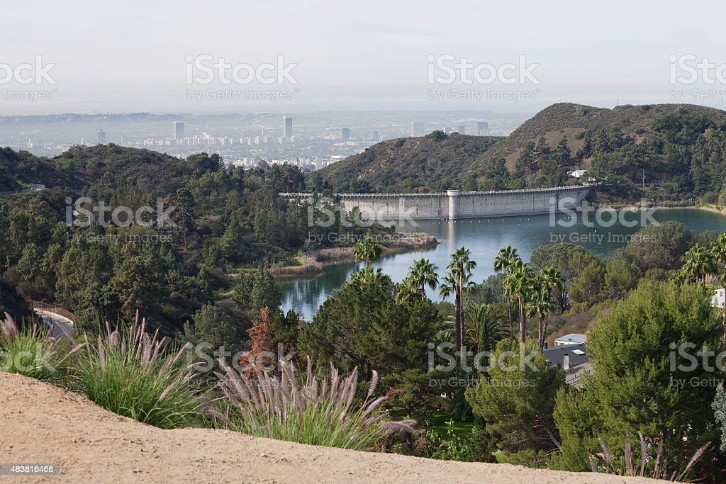 Mulholland Dam and Lake Hollywood Reservoir stock photo