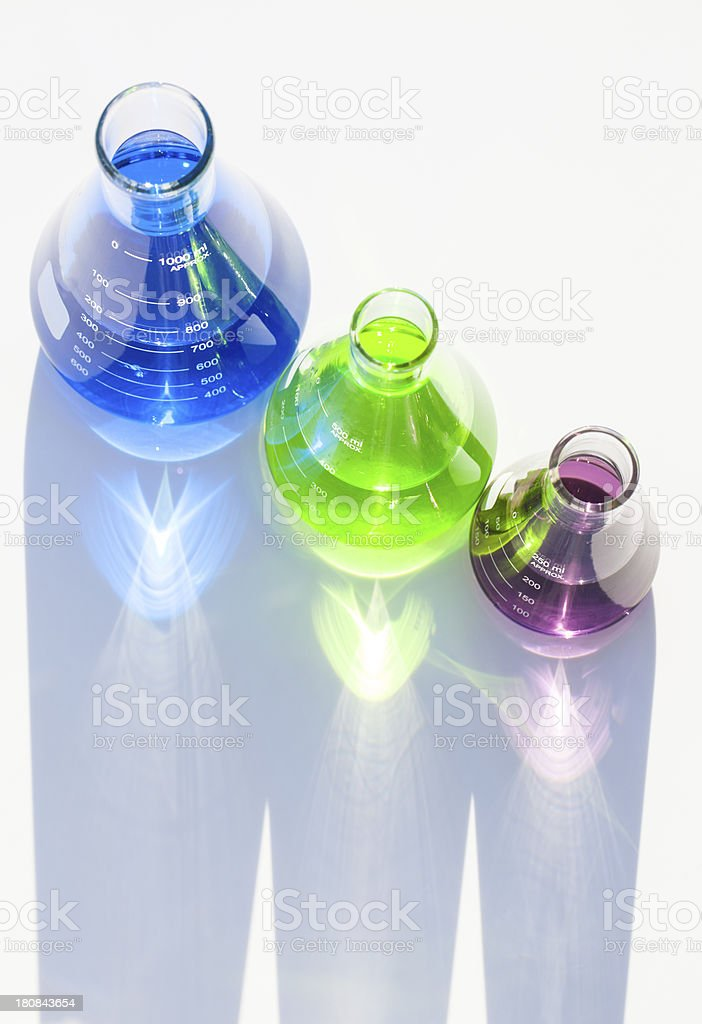 Mulitcolored Flasks royalty-free stock photo