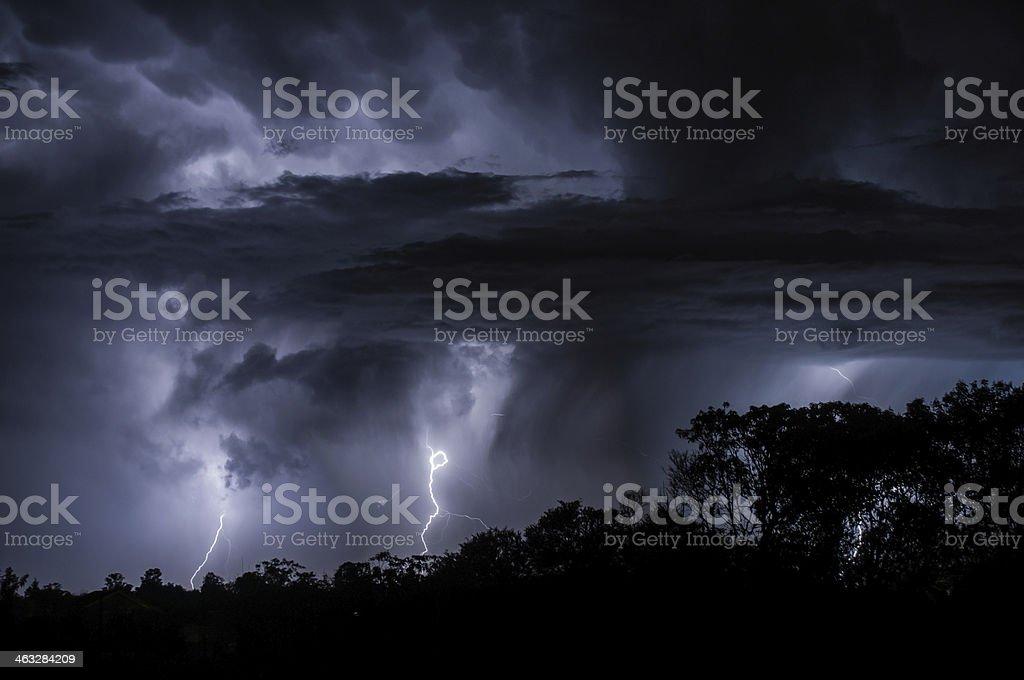 Mulitple Lightning creating silhouettes stock photo