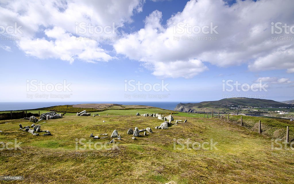 Mull Hill Stone Circle Overlooking Port Erin stock photo