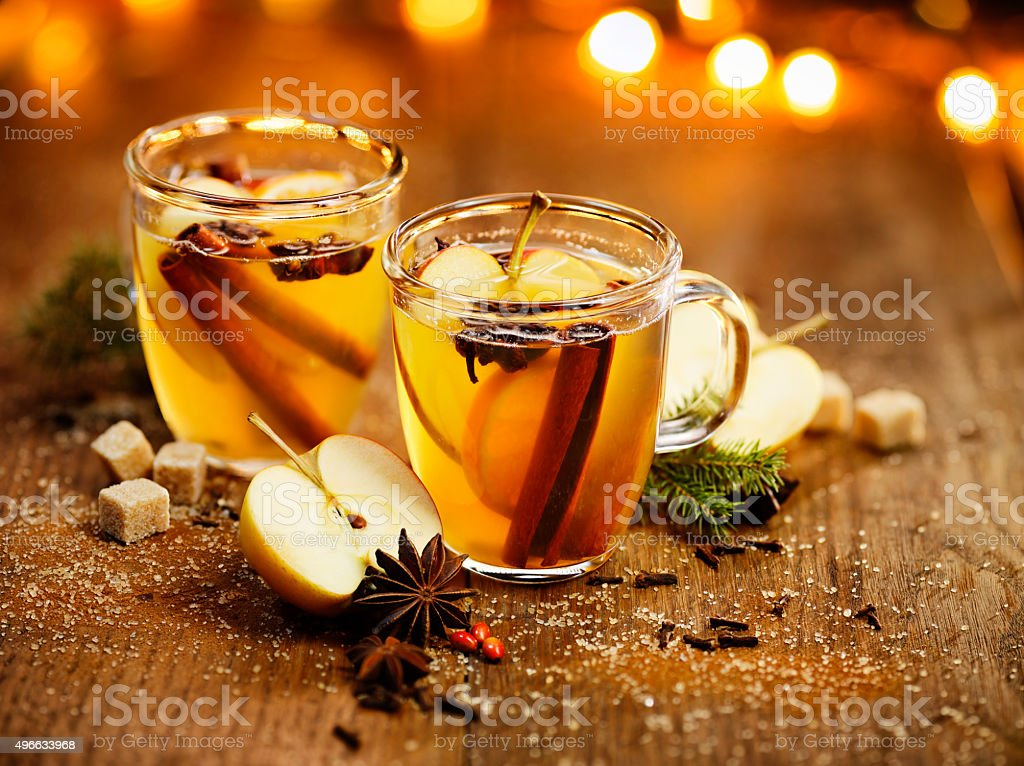 Mulled apple cider stock photo