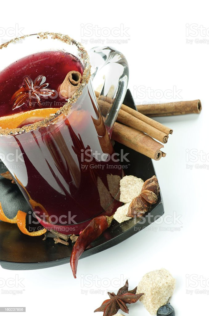 Mulled Wine and Fruits royalty-free stock photo