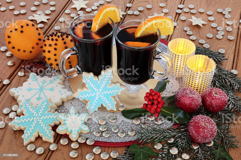 Mulled Wine and Gingerbread Biscuits stock photo
