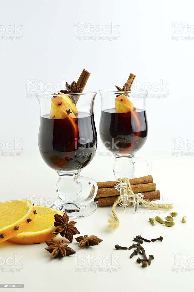 Mulled wine and spices royalty-free stock photo