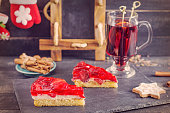 Mulled wine and strawberry pie.Christmas decoration. Vintage design.