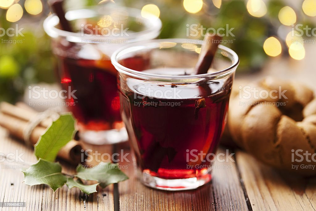 mulled wine christmas drink stock photo