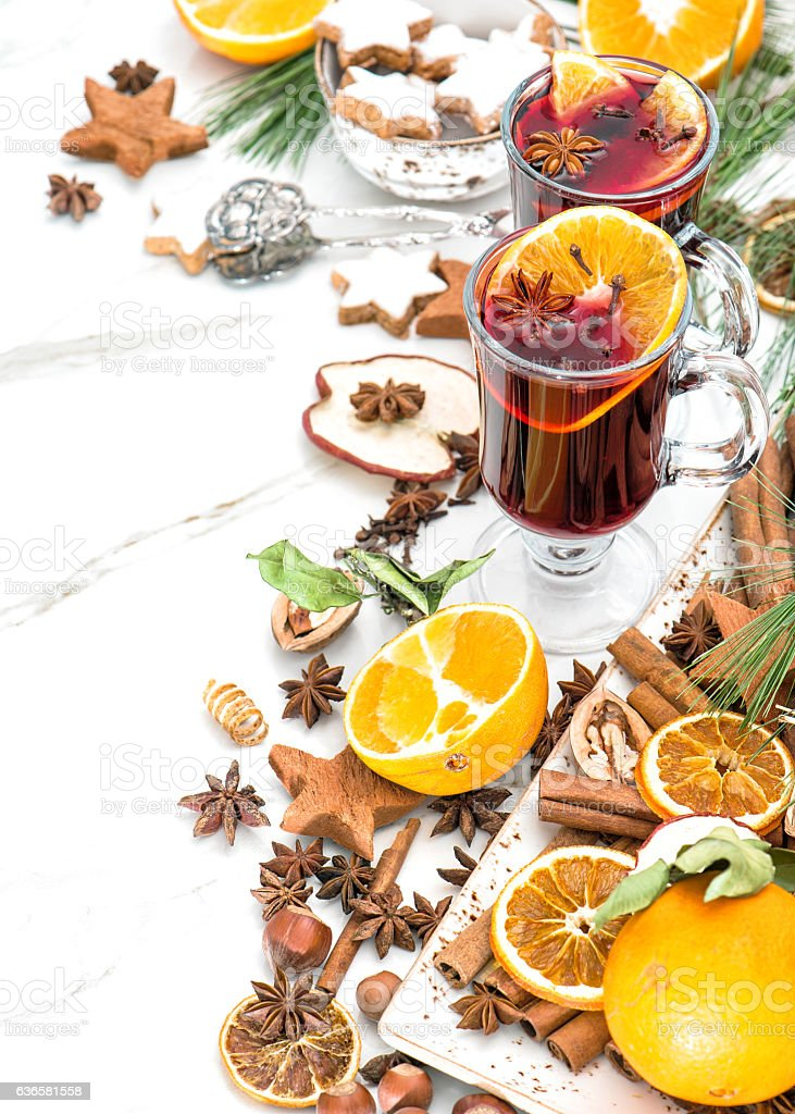 Mulled wine Hot red punch Christmas table decoration stock photo