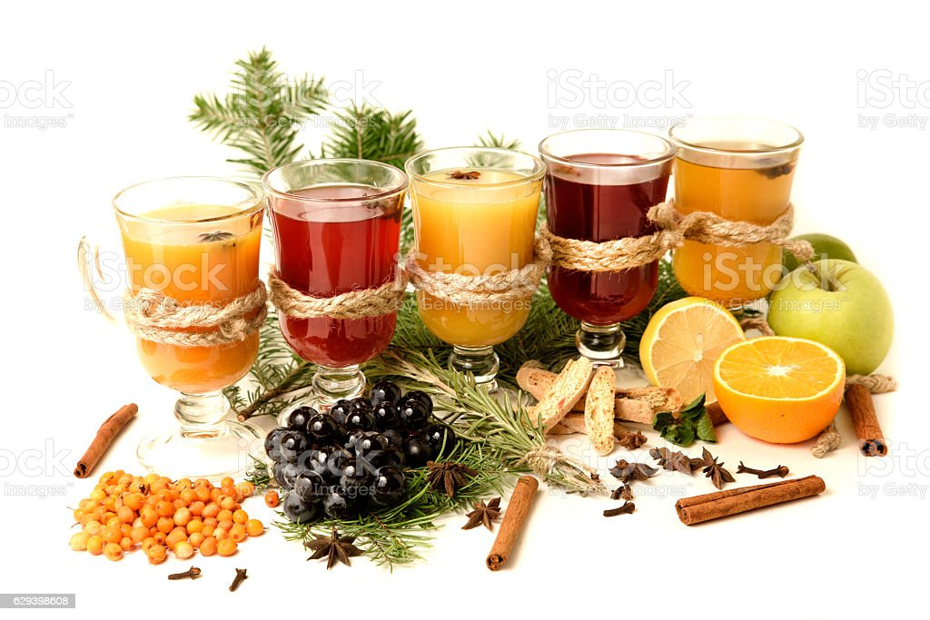 Mulled wine ingredients on bright background. Hot red punch with stock photo