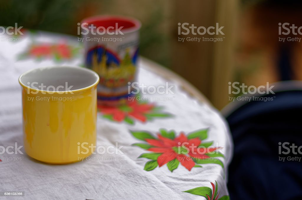 Mulled wine mug an chritmas tablecloth stock photo