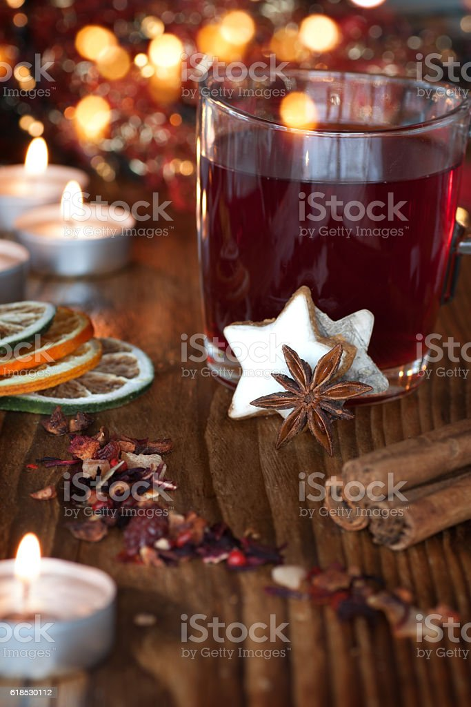 Mulled wine on a Christmas market stock photo
