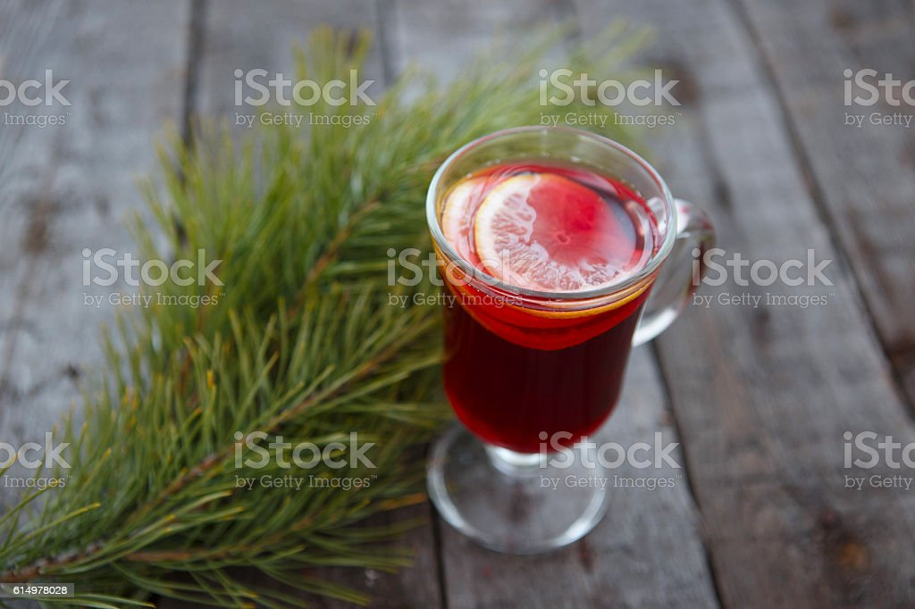 Mulled wine on table stock photo