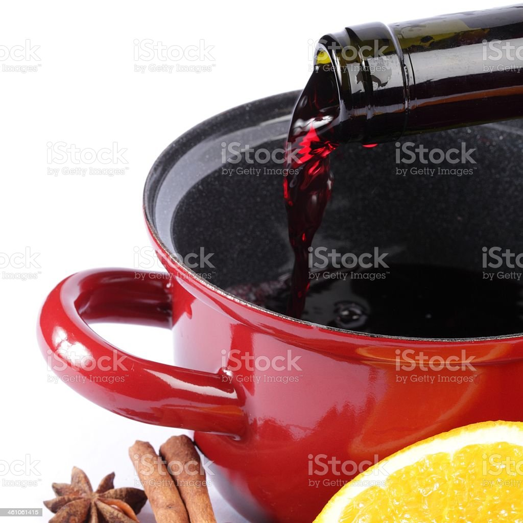 Mulled wine preparation royalty-free stock photo
