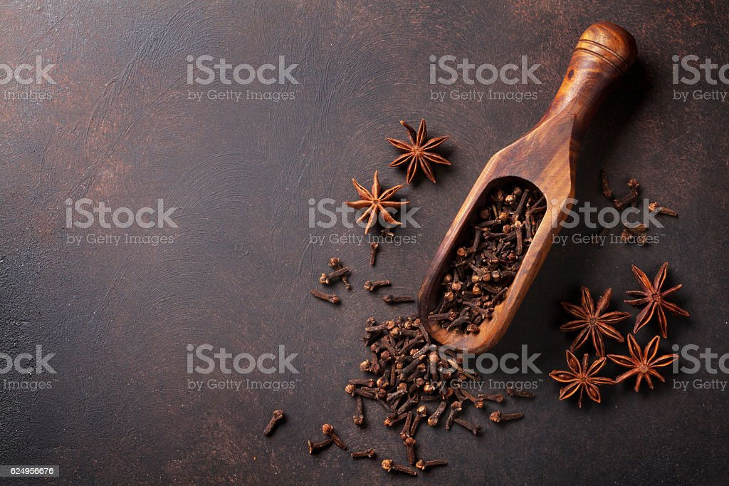Mulled wine spices stock photo