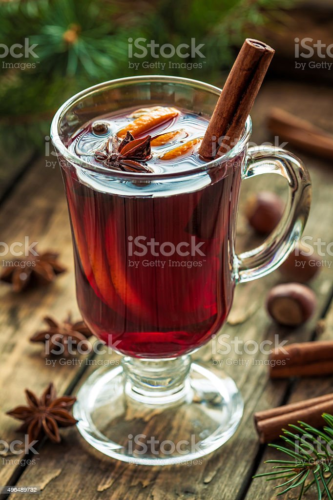 Mulled wine traditional winter hot alcohol spiced holiday beverage recipe stock photo