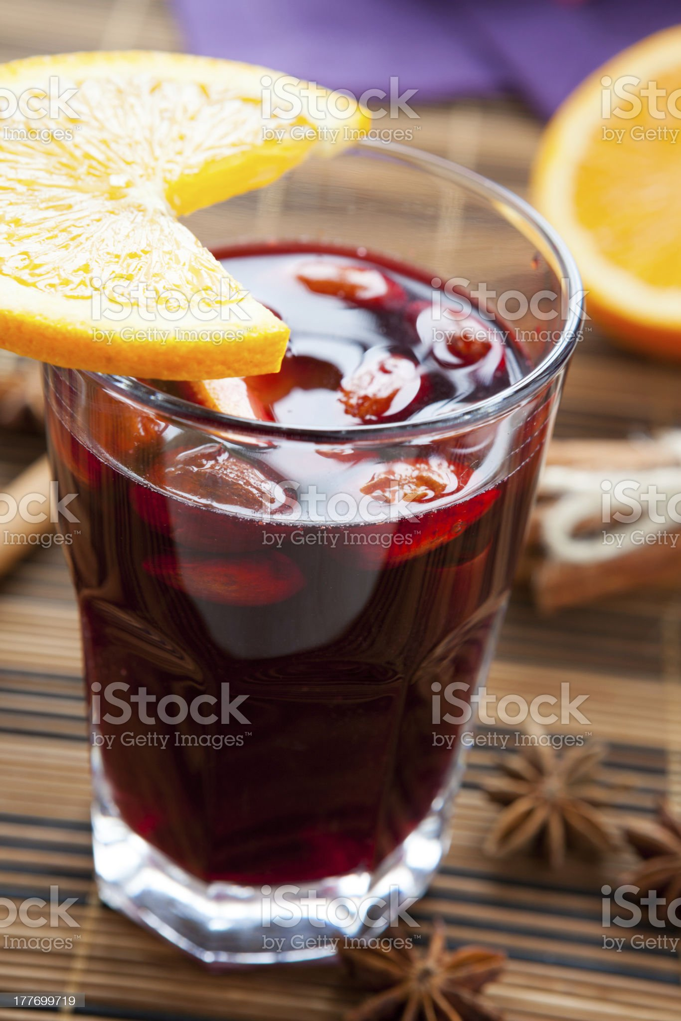 mulled wine with almonds and orange royalty-free stock photo