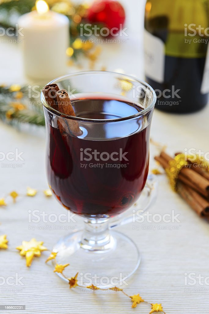 Mulled wine with cinnamon royalty-free stock photo