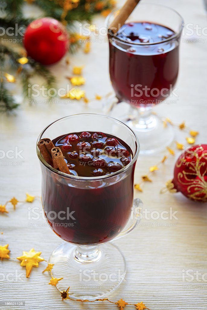 Mulled wine with cranberries royalty-free stock photo