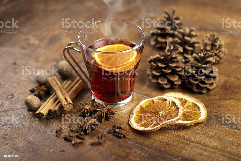 mulled wine with orange and spices stock photo