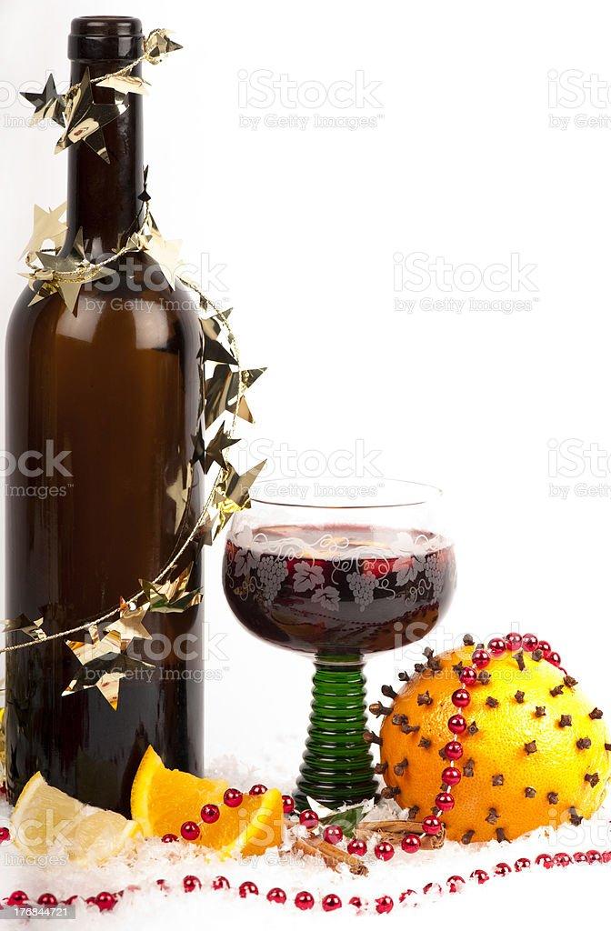 'Mulled wine with orange, lemon, pomander and decoration.' stock photo
