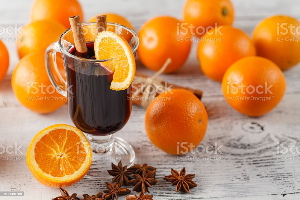 mulled wine with oranges stock photo