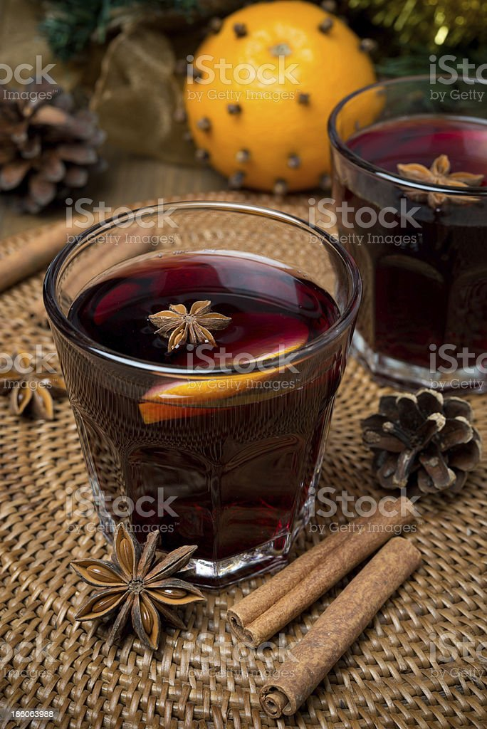 mulled wine with spices in glasses royalty-free stock photo