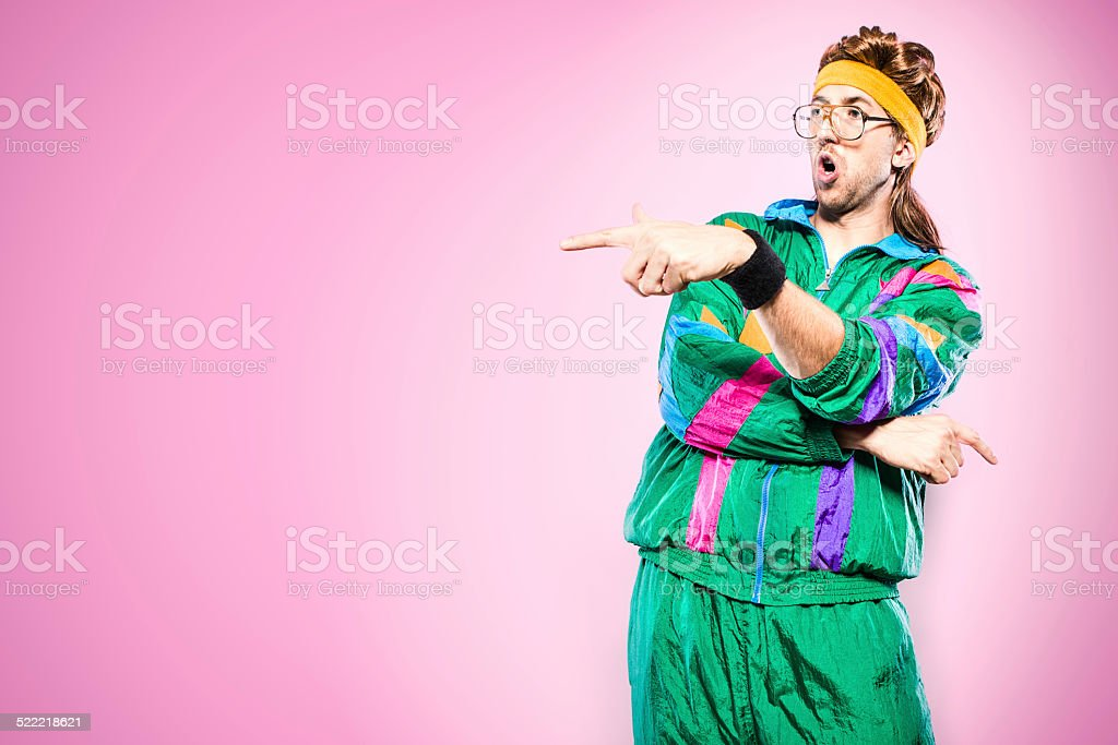 Mullet Man With Eighties Fashion Style stock photo