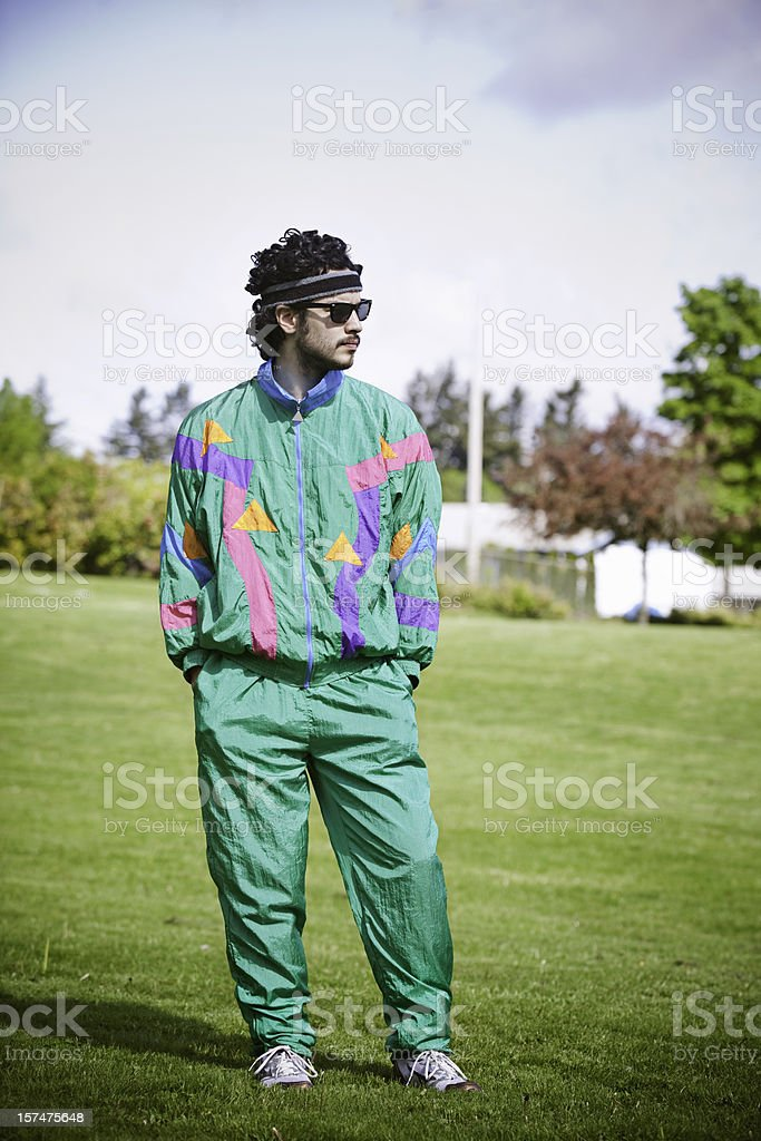 Mullet Runner With 1980's-1990's Fashion Style stock photo