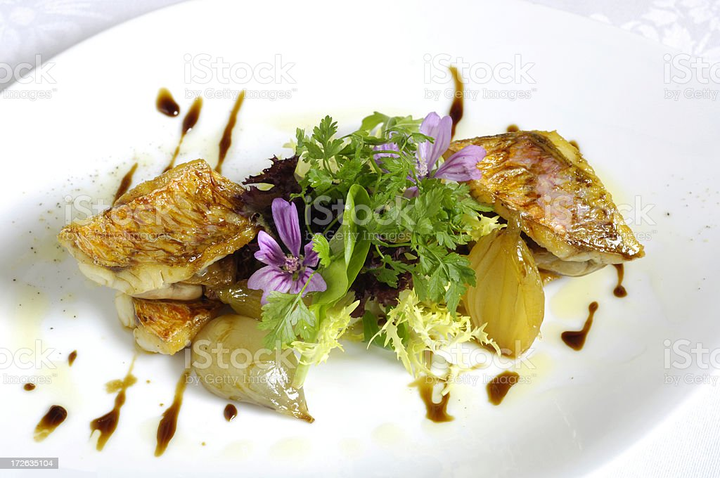 Mullet with foie gras royalty-free stock photo