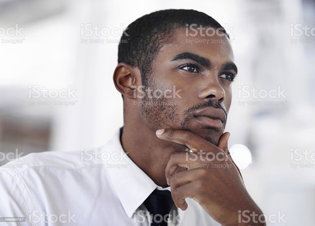Mulling over success stock photo
