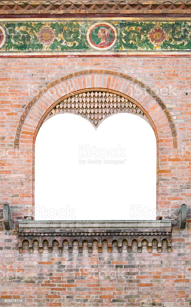 Mullioned medieval window suitable as a frame. stock photo