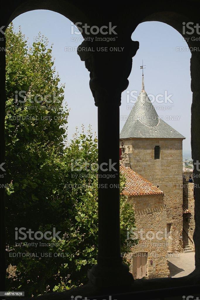 Mullioned window Carcassonne Languedoc France stock photo