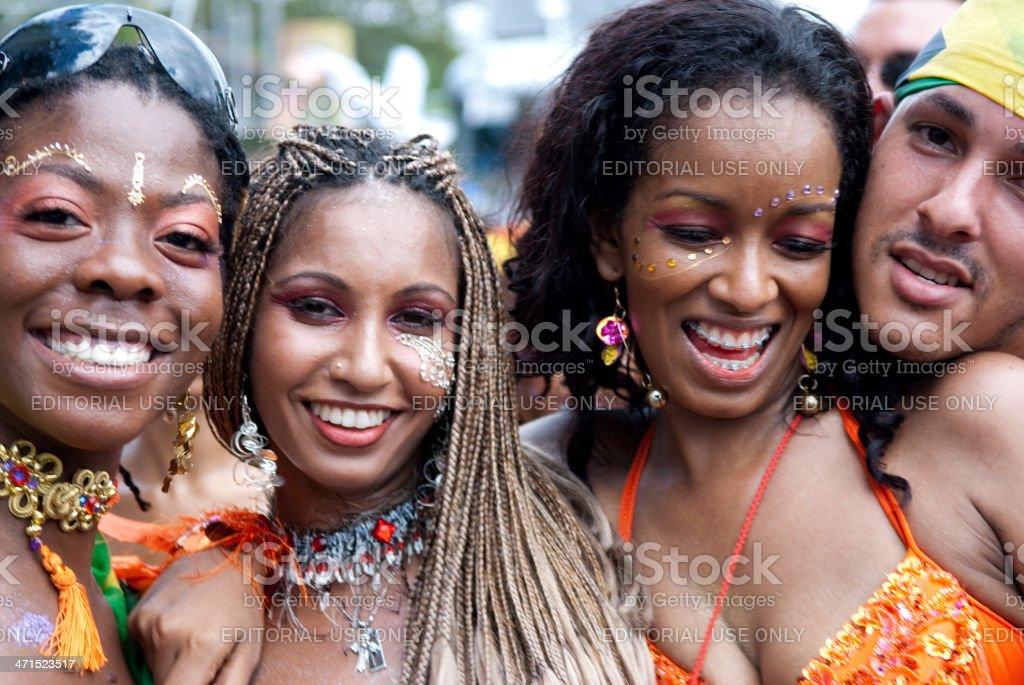 Mullticultural carnival revellers stock photo