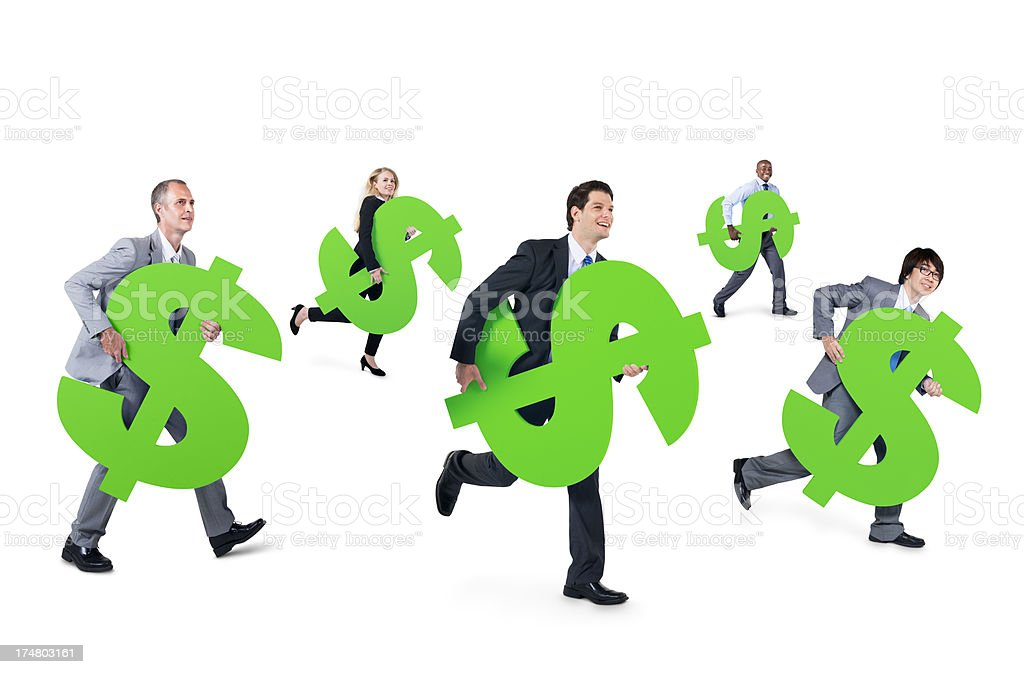 Mullti-ethnic group of business person holding Dollars royalty-free stock photo