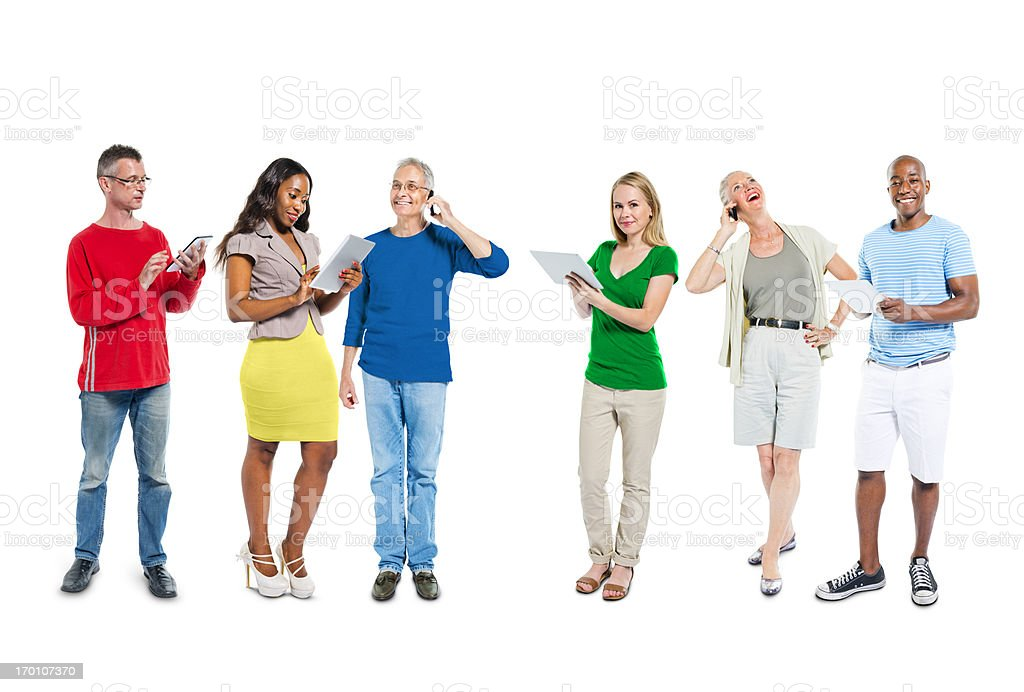 Mullti-ethnic group of people using communication device royalty-free stock photo