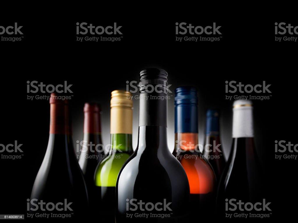 multi bottles black - Stock Image stock photo