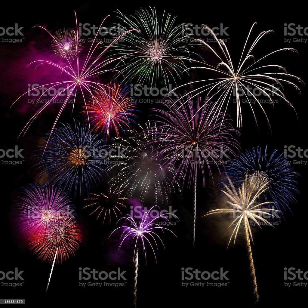 Multi burst fireworks display royalty-free stock photo