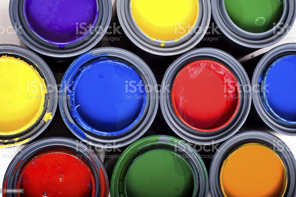 Multi Color cans of Paint stock photo