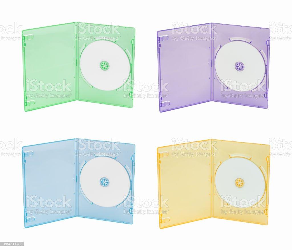 Multi color DVD box stock photo