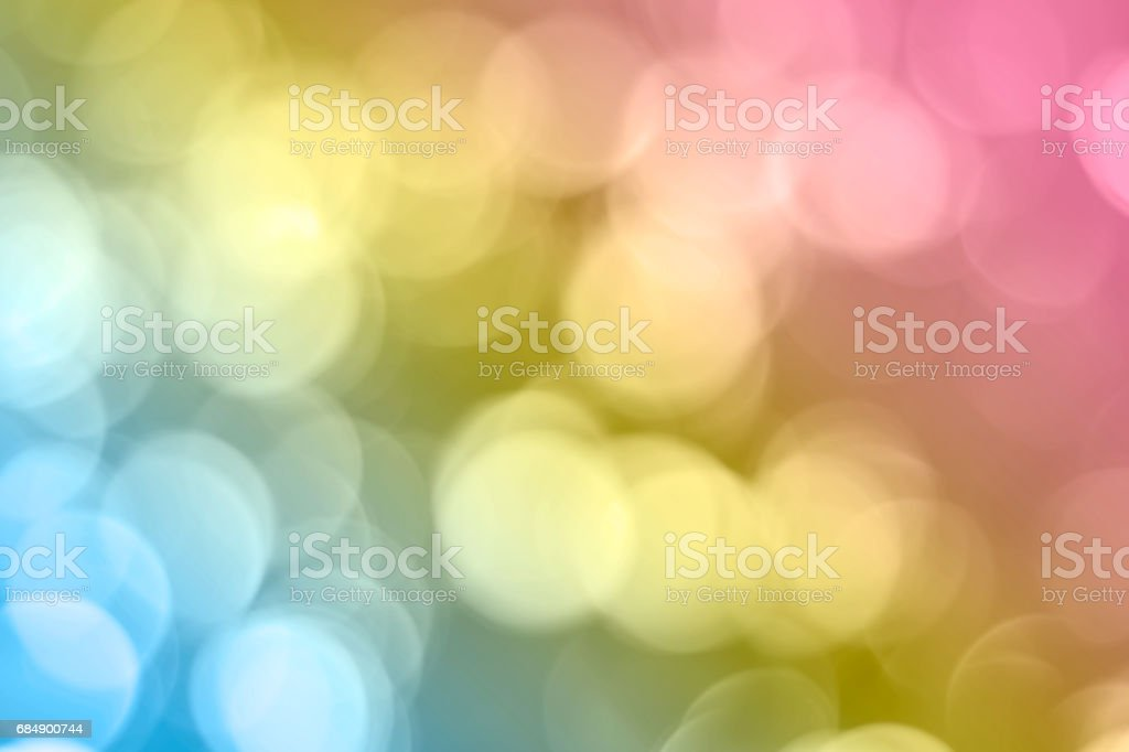 Multi color pastel bokeh as blurred background stock photo