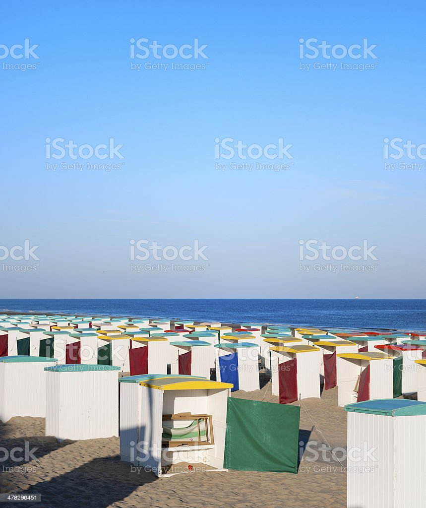multi colored beach huts royalty-free stock photo