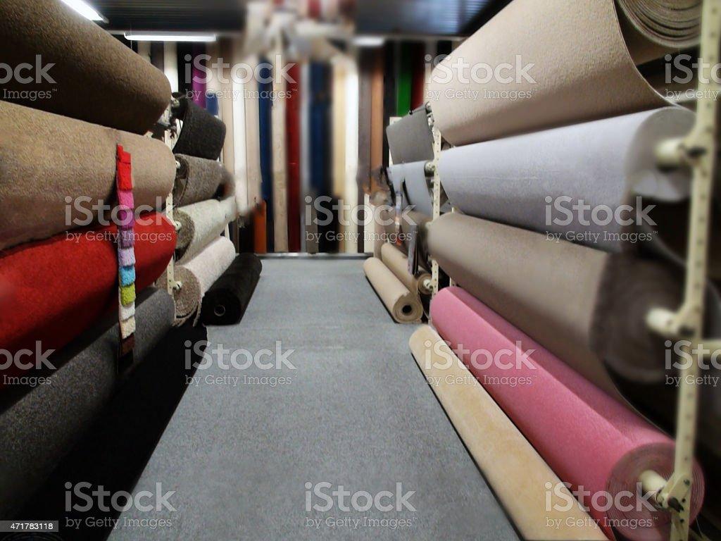 Multi Colored Carpet Sample Rolls stock photo
