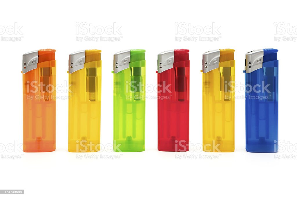 Multi Colored Cigarette Lighters royalty-free stock photo