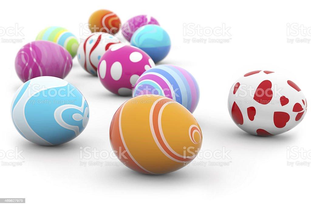 multi colored easter eggs stock photo