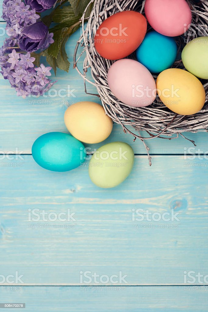 Multi colored easter handmade decorations stock photo