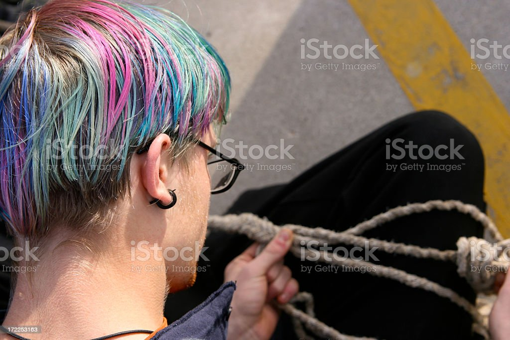 Multi Colored Hair Many Strand Rope royalty-free stock photo