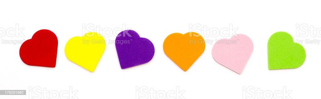 multi colored hearts stock photo